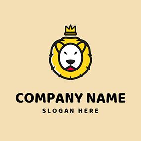 Crown And Lion Head Mascot Logo Design