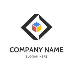 Cube and Code Symbol logo design