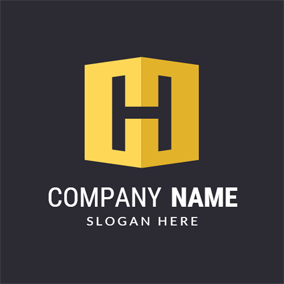 Cubic Yellow and Black Letter H logo design