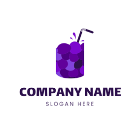 Cup and Mulberry Juice logo design