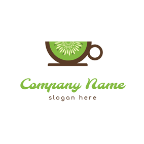 Cup Shape and Kiwi Slice logo design