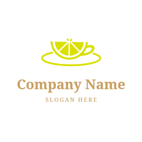 Cup Shape and Lemon Slice logo design