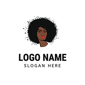 Curly Afro Hair Portrait logo design