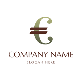 Curly Gradient Euro Symbol logo design