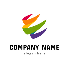 Curving and Beautiful Rainbow logo design