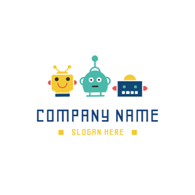 Cute and Colorful Toy Robot logo design