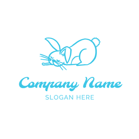 Cute and Sleeping Rabbit logo design
