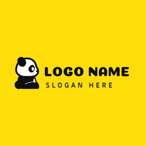 Cute Black and White Panda logo design