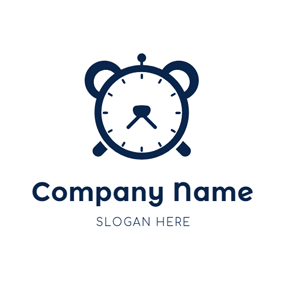 Cute Blue Clock Icon logo design