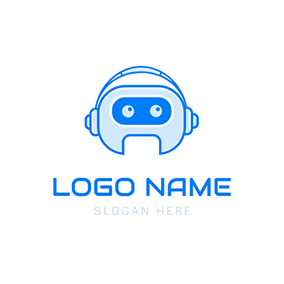 Cute Blue Robot and Ai logo design