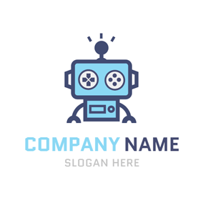 Cute Blue Robot Game logo design