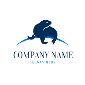 Cute Blue Sea Lion logo design