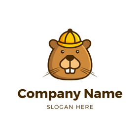 Cute Brown Beaver Head logo design