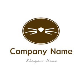 Cute Brown Elliptical Cat logo design