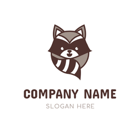 Cute Brown Raccoon Icon logo design