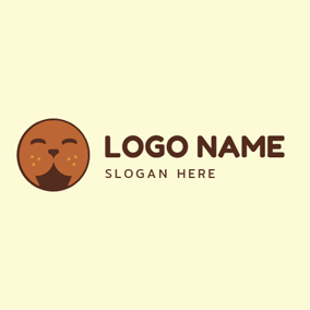 Cute Brown Seal Face logo design