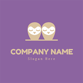 Cute Cartoon Owl Twins logo design