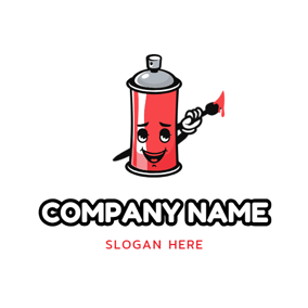 Cute Cartoon Paint Bucket logo design