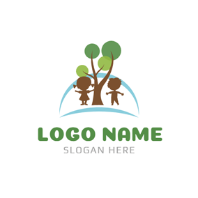 Cute Children and Abstract Tree logo design