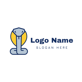 Cute Coiled Cobra Icon logo design