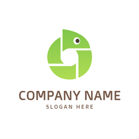Cute Curled Green Icon logo design