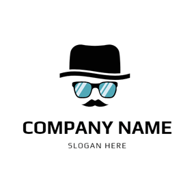 Cute Formal Hat and Glasses logo design