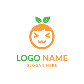 Cute Girl Face Orange and Emoji logo design