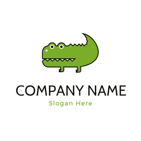 Cute Green Alligator Icon logo design