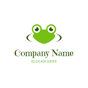 Cute Green Frog Head logo design