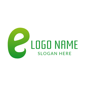 Cute Green Letter E logo design