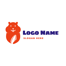 Cute Hamster and Sunflower Seed logo design
