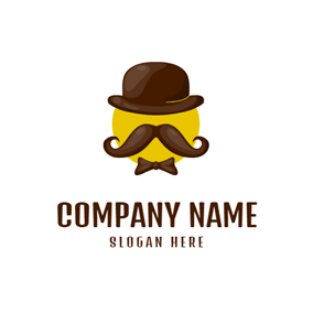 Cute Hat and Mustache logo design