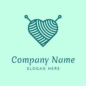 Cute Heart Woolen Needle Handmade logo design