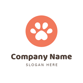 Cute Orange Dog Paw logo design