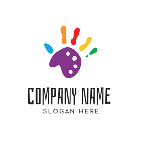 Cute Palette and Colorful Paint logo design