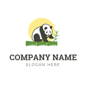 Cute Panda and Green Bamboo logo design