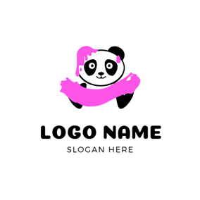 Cute Panda and Pink Slime logo design