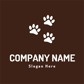 Cute Paw and Dog Walking logo design