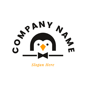 Cute Penguin and Butler Sign logo design