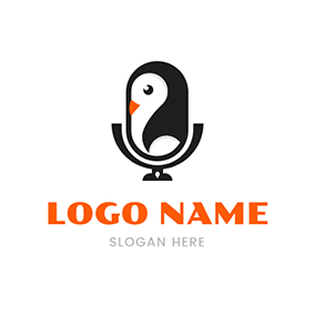 Cute Penguin and Unique Microphone logo design