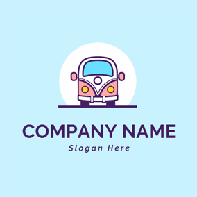 Cute Pink Bus Head logo design