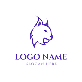 Cute Purple Lynx Face logo design