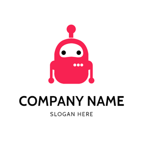 Cute Red Robot Icon logo design