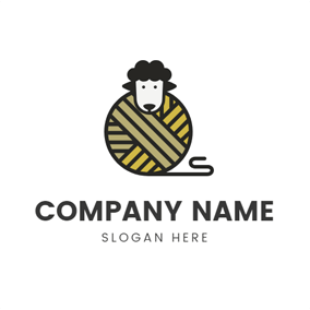 Cute Sheep Head and Clew logo design