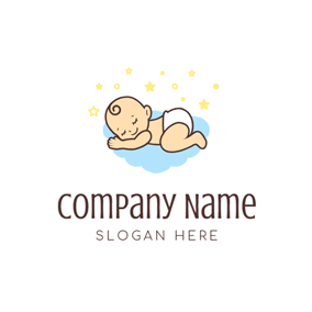 Cute Sleep Baby logo design
