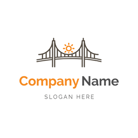 Cute Sun and Minimal Bridge logo design