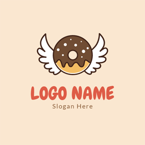 Cute Wing and Chocolate Doughnut logo design