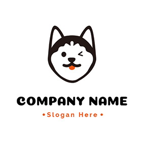 Cute Wink Husky logo design