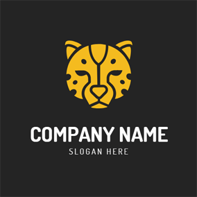 Cute Yellow Cheetah Head logo design