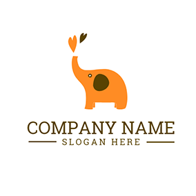 Cute Yellow Elephant Icon logo design